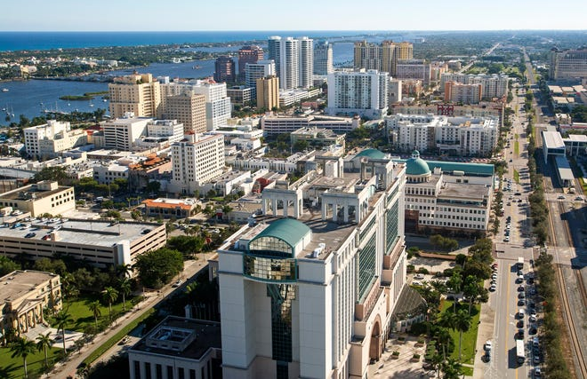 Downtown West Palm Beach from the top floor of One West Palm on Dec. 1, 2020.