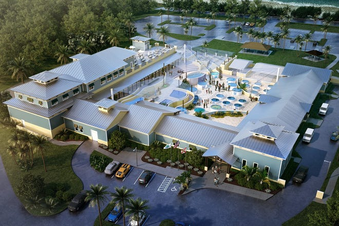 An artist's rendering shows the planned layout and appearance of the expanded Loggerhead Marinelife Center. The new, 27,500-square-foot campus, expected to open in the second half of 2021, will accommodate twice as many sea turtle patients, add six times as much educational space, and double the size of Loggerhead's research lab.