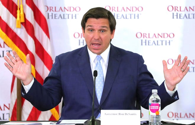 Florida Gov. Ron DeSantis during a news conference on the state's status in the coronavirus crisis, at Orlando Health's Orlando Regional Medical Center in April.