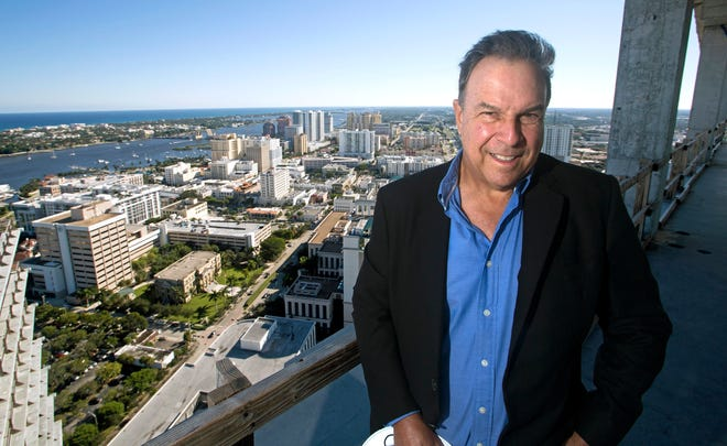 Jeff Greene on the top floor of his his One West Palm project, overlooking downtown West Palm Beach Tuesday, Dec. 1, 2020.