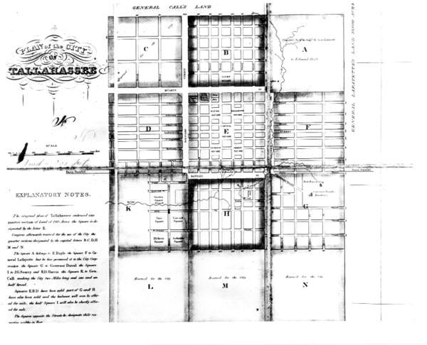 A plan of the city of Tallahassee, ca. 1829.
