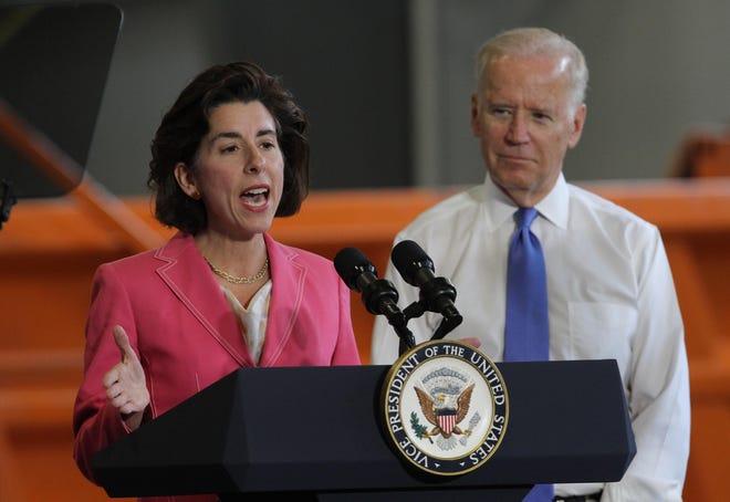 Gov. Gina Raimondo appears with then-Vice President Joseph Biden during Biden's 2016 visit to Rhode Island.