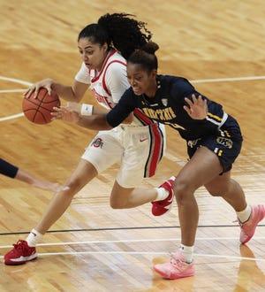 Sophomore forward Nila Blackford's 21 points and 15 rebounds led Kent State past host Toledo on Sunday.