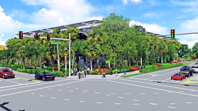 This rendering shows the proposed Marie Selby Botanical Gardens parking garage at the intersection of Orange Avenue and Mound Street.