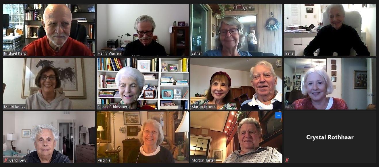 Members of the Aging Rebels group meet on Zoom
