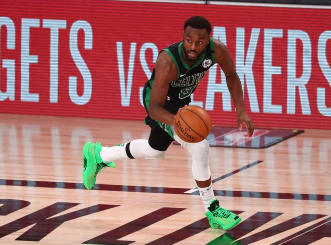 Celtics guard Kemba Walker moves the ball against the Heat during the Eastern Conference finals in September.