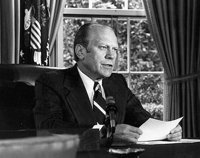 In 1973, House minority leader Gerald R. Ford was sworn in as vice president, succeeding Spiro T. Agnew.