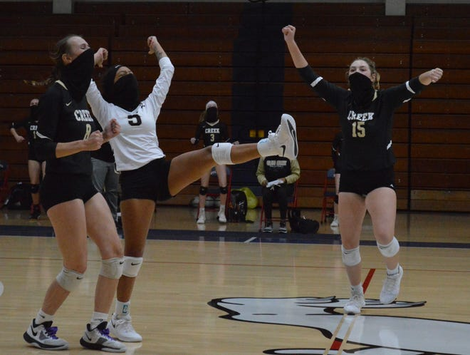 Kylie Aldridge (8), along with seniors Aliyah Brown (5) and Chassie Jacops (15), helped Gray's Creek sweep Terry Sanford on Tuesday.