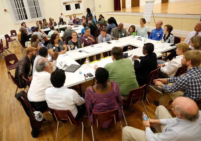 Community members attend an event launching Gainesville For All at the Thelma Bolton Center in 2016.