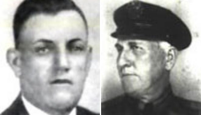 Mercellus Robertson (left) and Sonny Vaughn (right) were murdered while responding to a call of a robbery on Dec. 7, 1938.