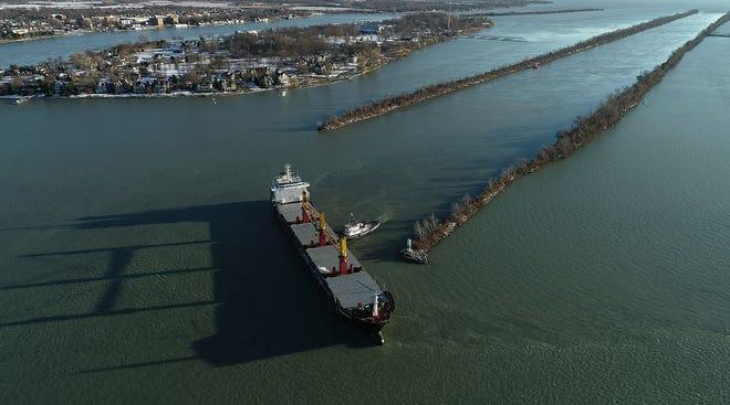 Freighter Harvest Spirit ran aground in the Detroit River's Livingstone Channel near Grosse Ile on Wednesday, Dec. 2, 2020.