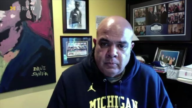 Michigan athletic director Warde Manuel answered questions from a U-M media reporter about the football team's pause on Wednesday, Dec. 2, 2020.