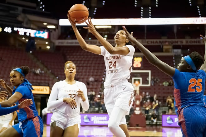FSU junior guard Morgan Jones (24) drives in for a layup as Gators sophomore forward Faith Dut (25) attempts to block the shot during the Seminoles' home opener vs. UF in Tallahassee, FL., Tuesday, Dec. 1, 2020.