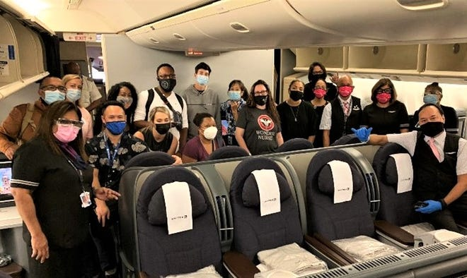 Medical volunteers bound for Guam. United Airlines is helpingGuam Memorial Hospital fight theCOVID-19 pandemic by providing free round-trip air transport for medical professionals who travel to Guam to work with the hospital.