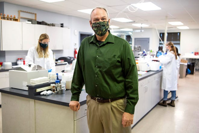 Dr. Duane Graves, a senior scientist for Geosyntec Consultants, is photographed inside GeoSyntec Consultants' laboratory in Knoxville on Wednesday, December 2, 2020.
