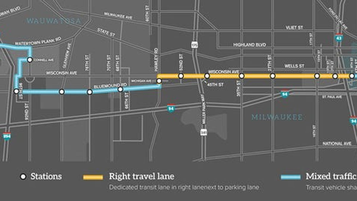 New rapid bus service connecting downtown to Wauwatosa...