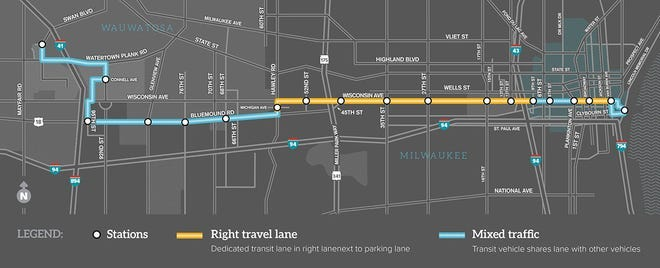 The East-West Bus Rapid Transit service will connect downtown Milwaukee to the Milwaukee Regional Medical Center in Wauwatosa.