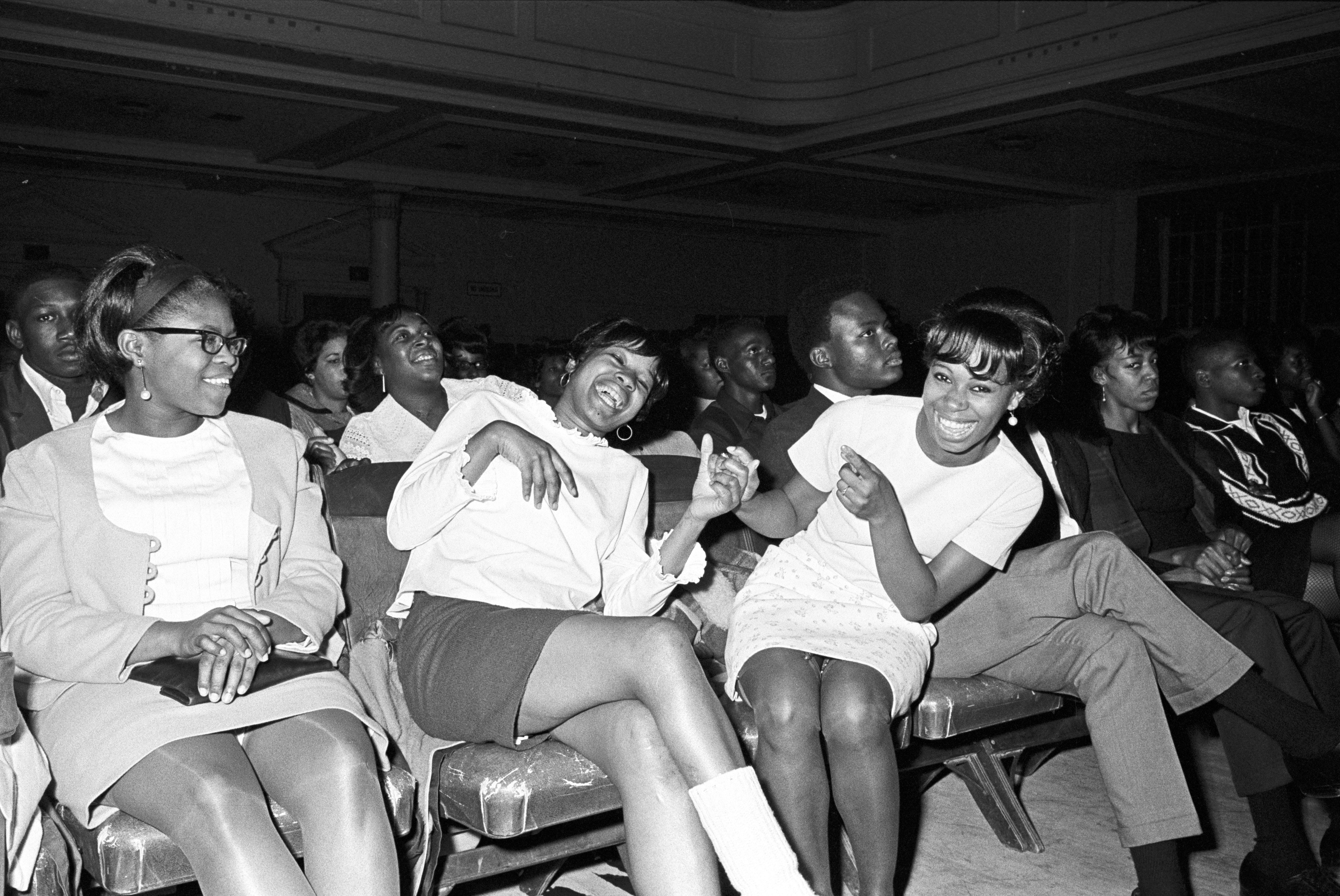 Young women in the audience during a performance of the Otis Redding Show at the Montgomery City Auditorium.