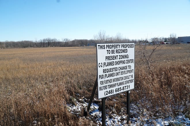 The Milford Crossing development is slated to be located in this field at the northeast corner of Milford Road and Pontiac Trail.