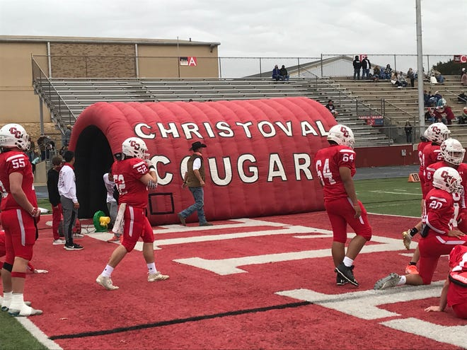 The Christoval High School football team warms up before its regional semifinal playoff game against Snook on Friday, Nov. 27, 2020, at Battlin' Billie Stadium in Fredericksburg.
