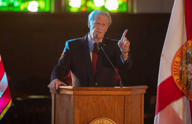 Florida State University President John Thrasher gives his final State of the University Address to the Faculty Senate Wednesday, Dec. 2, 2020.