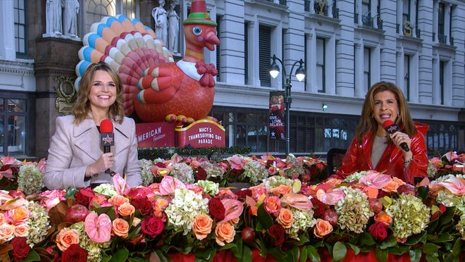 Savannah Guthrie and Hoda Kotb at the 2020 Macy's Thanksgiving Day Parade.