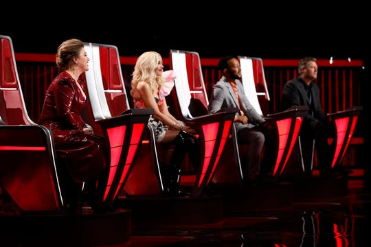 "The Top 9 contestants on ""The Voice"" have been revealed. Who will win it all? (l-r) Team Kelly Clarkson, Team Gwen Stefani, Team John Legend or Blake Shelton's team."