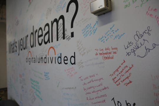"The ""What's your dream?"" wall at the digitalundivided offices in Atlanta in 2019."