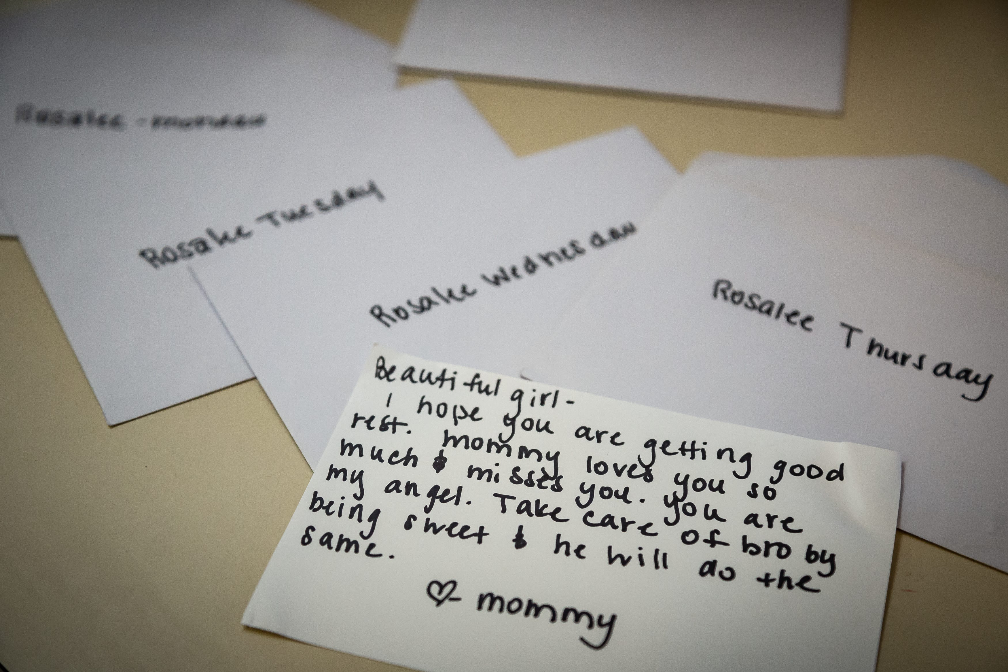 Notes Lena wrote for her children while they were in foster care.