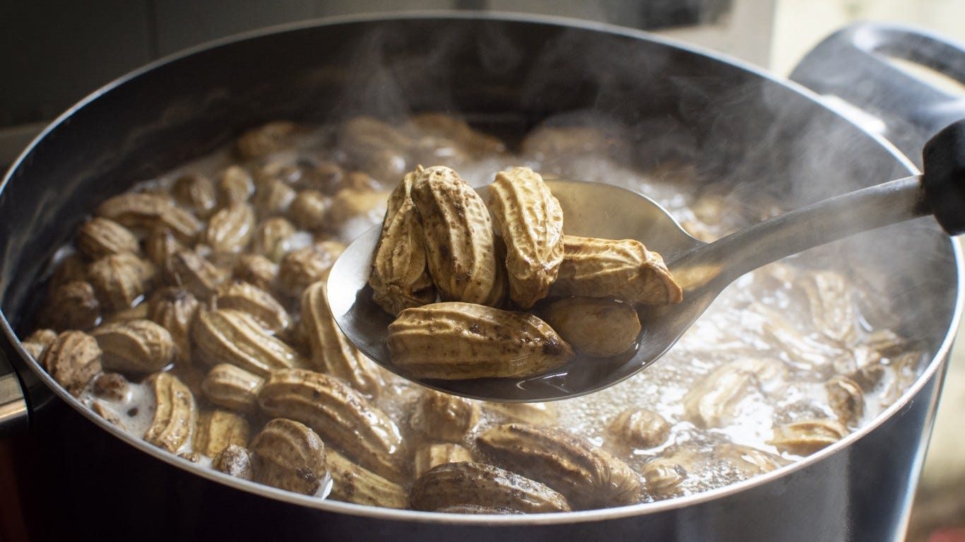 Peanuts, which came to America with the slaves, are a staple of soul food dishes: Peanut Stew with Chicken and Sweet Potato, boiled peanuts, Peanut Butter biscuits.