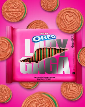 The new pack of Lady Gaga themed Oreos.
