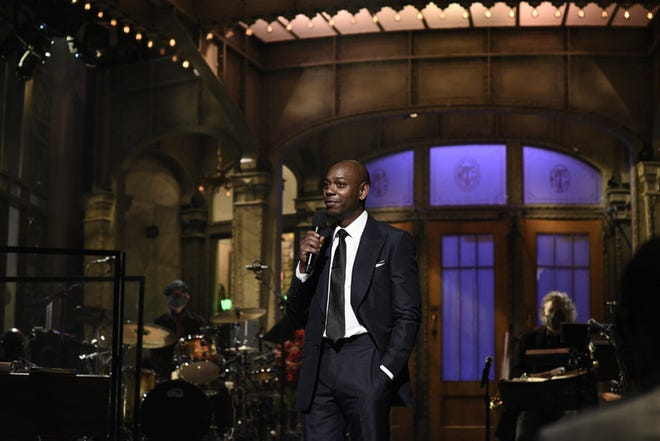 """Saturday Night Live"" guest host Dave Chappelle during the monologue on Saturday on Nov. 6, 2020. (Will Heath/NBC/TNS)"