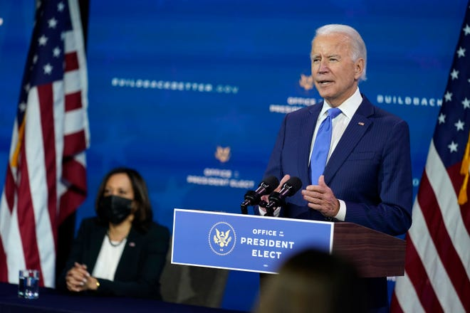 Joe Biden, speaking as Vice President-elect Kamala Harris listens this month in Wilmington, Del., is getting more GOP acknowledgment that he will be the next president.