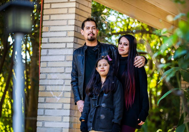 Aaron Kemkaran, 36, was playing music gigs and running his own music studio before the coronavirus pandemic. He had to sell off some of his equipment to continue to pay bills. His wife Mayra Reyes, 32, also counted on the studio for income. Daughter Kirstan, 8, was burned this spring in a household accident, which is how the family became a client of Health Alliance for Austin Musicians.