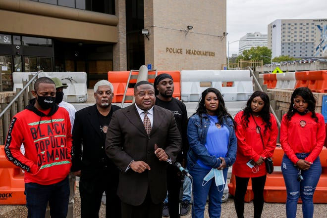 "Leader of the New Black Panther Nation in Houston, Quanell Ralph Evans, known as Quanell X, calls for action and an investigation into the death of 19-year-old Tardrick ""Trollie"" Fowler Jr. outside the Austin Police Headquarters in Austin on Tuesday, Dec. 2, 2020. Fowler died in June 2020 at a Super 8 Hotel along I-35 near East 290 in North Austin. Witnesses told police that Fowler was playing Russian roulette with a group of people and fatally shot himself. The family along with the Austin Justice Coalition say they have concerns about how detectives handled the case and demand answers.    [BRONTE WITTPENN/AMERICAN-STATESMAN]"
