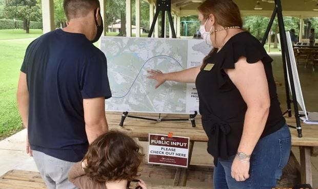 Residents were able to view the Firefly Trail plans during an August meeting in Winterville. (Contributed)