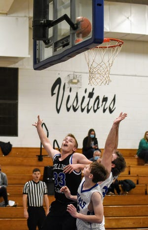 Luke Huntrods (33) scored 19 points to help Collins-Maxwell win its opener over Colo-NESCO, 56-53, Tuesday in Colo.