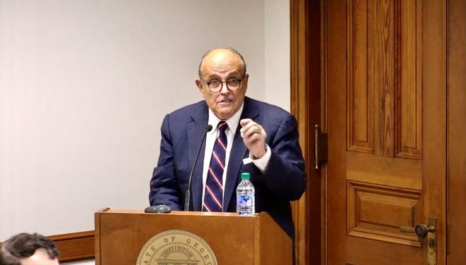 Rudolph Giuliani urges Georgia Senate members to pick the state's Electoral College electors at a hearing on Dec. 3, 2020.