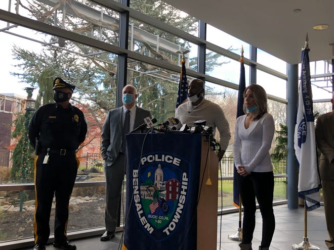 Walter Bynum, center, and Rachel Agosto are co-responders for Bensalem police. They will help respond to certain calls with police  and handle referrals for social services.