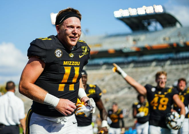 Missouri wide receiver Barrett Banister (11) celebrates after defeating LSU on Oct. 10 at Faurot Field.