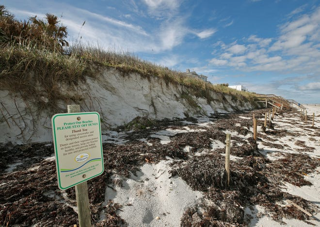 Beach erosion along the shoreline in New Smyrna Beach, Thursday, Dec. 3, 2020.