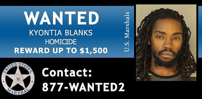 The U.S. Marshals Service is offering reward money for information leading to the apprehension of Erie resident Kyontia Blanks, who is accused of fatally shooting a man outside of a convenience store in Erie on Oct. 21.