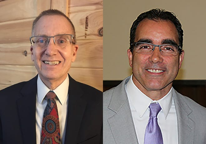 """Newcomb Central School District Deputy Superintendent Clark """"Skip"""" Hults, left, and former Thousand Islands Central School District High School Principal Joseph Gilfus are the candidates for Dolgeville superintendent."""