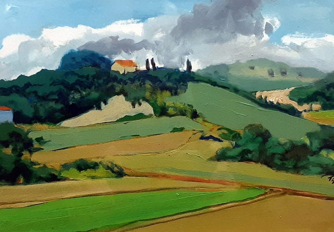House on a Hill, Tuscany — Tom Glover's travels have lead him to delve into the Italian landscape of Tuscany, Paris, Spain, Denmark, Costa Rica, Prince Edward Island, Nova Scotia, Arizona and New Mexico.