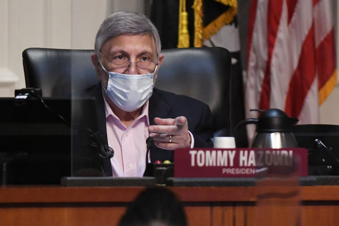Council president Tommy Hazouri is shown during Thursday morning's City Council meeting to discuss the proposed Lot J entertainment district agreement between the city and the Jacksonville Jaguars ownership and The Cordish Companies.