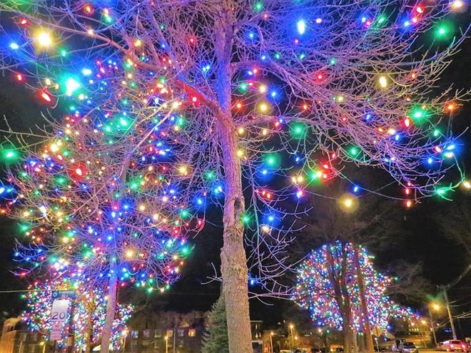 A past view of holiday lights at Monument Park in Gardner.