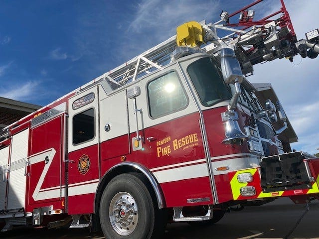 The Denison fire department is unveiling its latest tool to fight fires across the city.  The new $1.4 million ladder truck will replace another aging vehicle that has been within the department for nearly 20 years, but is reaching the end of its useful life. The city expected to have the vehicle on the roads of Denison in early 2020, however the COVID-19 pandemic delayed constructionof the vehicle and travel restrictions kept  city officials from inspecting and accepting the vehicle until October.
