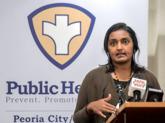Monica Hendrickson, Public Health Administrator for the Peoria City/County Health Department, gives an update on the status of COVID-19 vaccines headed to the Peoria area during the weekly press conference Thursday, Dec. 3, 2020 at the health department in Peoria.