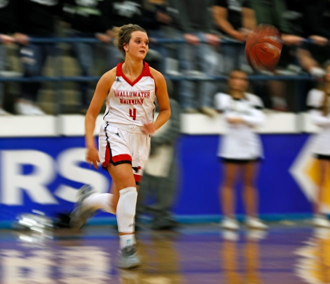 Shallowater's Tynli Harris (4) dribbles the ball down the court during a Class 3A bidistrict playoff game against Muleshoe on Feb. 17 at Frenship High School's Tiger Pit in Wolfforth. The Fillies finished the season with a 39-2 overall record and hoisting the state championship.