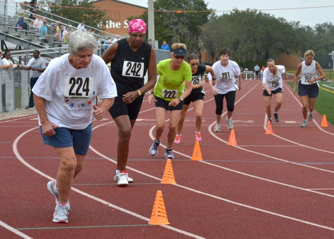 Women compete in the 60-and-over 800-meter run during the 2014 Polk Senior Games that were held at All Saints Academy in Winter Haven. The 2021 games were called off because of concerns about COVID-19.